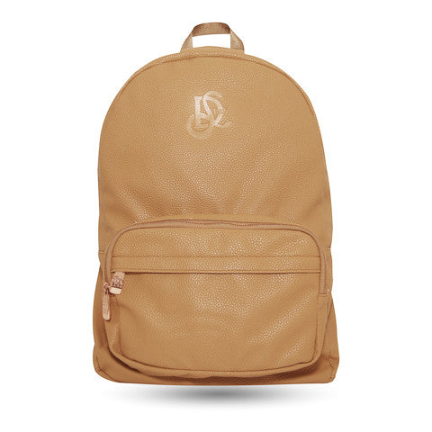 Cognac/Rose Gold Leather Backpack