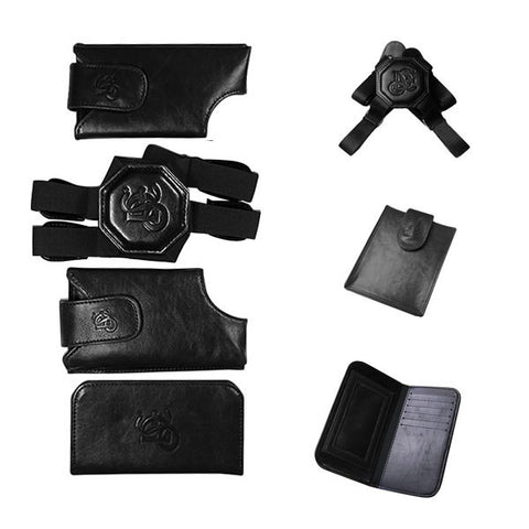 Black Holster Set, Nylon Strap, Passport Pouch & ID Wallet Bundle