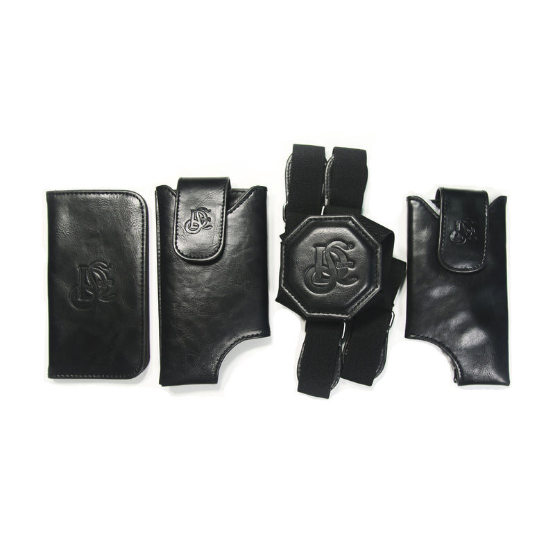 Cell Phone Leather Shoulder Holster (T-FIT) - Black + FREE ID Display Wallet Upgrade - LD West