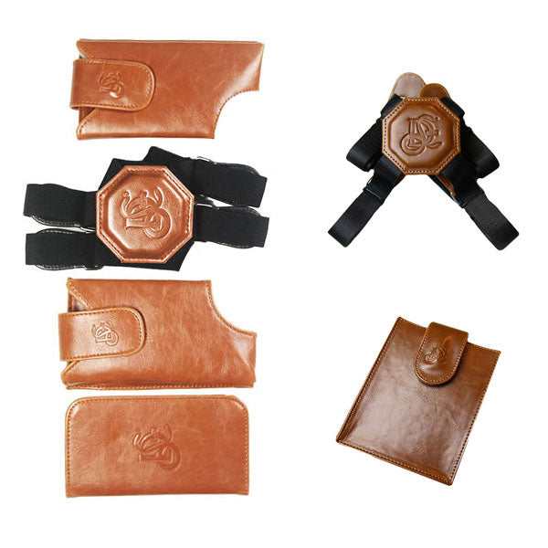 Cognac Holster, Non Stretch Nylon Strap & Passport Pouch Bundle - LD West