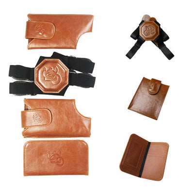 Cognac Holster Set, Nylon Strap, Passport Pouch & ID Wallet Bundle - LD West