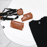 Leather Shoulder Holster - Cognac & Scoop Neck T-Shirt - LD West