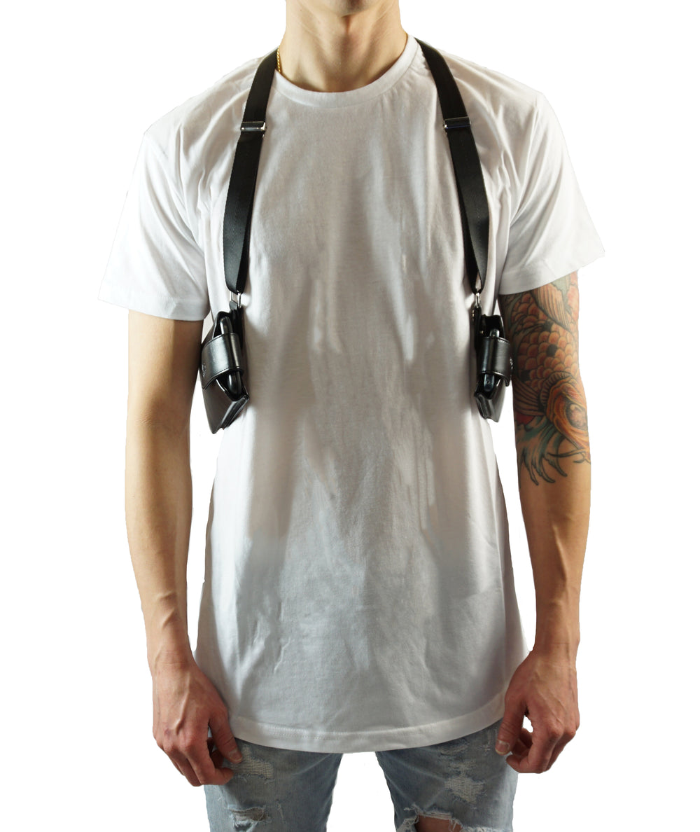 Dual Cell Phone Leather Shoulder Holster With Nylon Straps (T-FIT) - Black - LD West