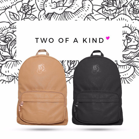Black Vegan & Cognac/Rose Gold Leather Backpack Bundle