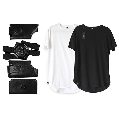 Leather Shoulder Holster - Black & Mens Scoop Neck T-Shirt
