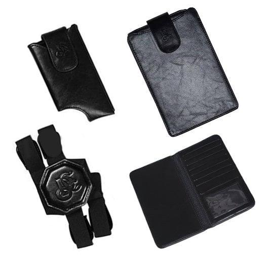 Travel Wallet & Phone Pouch Holster Set - Black - LD West