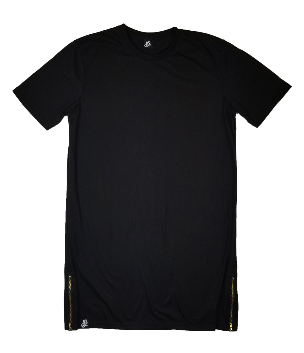 Straight Cut Tall Tee With Gold Side Zipper - Black - LD West