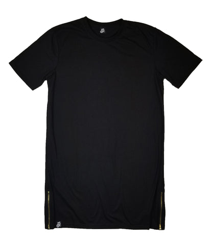 Straight Cut Long Tee With Gold Side Zipper - Black - LD West