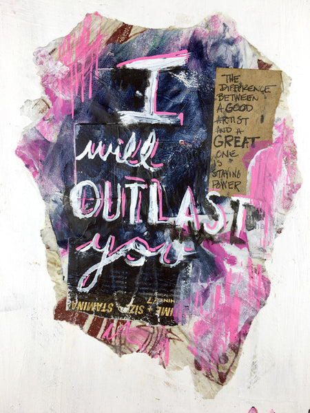 "I will outlast you (detail) - 11x14"" mixed media on panel, by dave conrey"