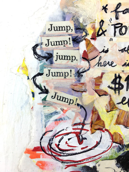 "the key to money fame and power (detail) —11x14"" mixed media on panel, by dave conrey"