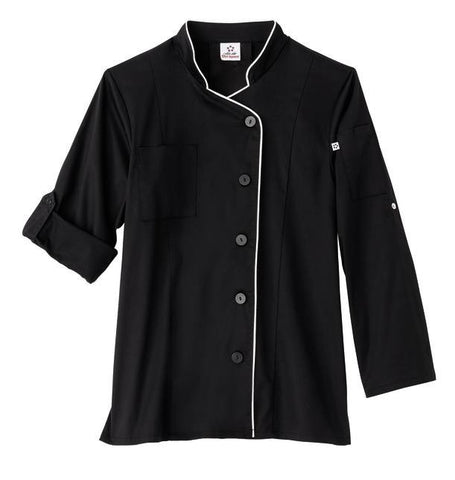Five Star Ladies Long Sleeve Stretch Executive Chef Coat - Company Store Uniforms