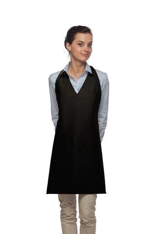 Daystar V-Neck Tuxedo Apron with Center Divided Pocket - Company Store Uniforms