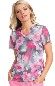 Koi Stretch Pink Punch Bliss Print Top - Company Store Uniforms