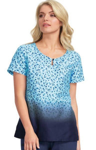 Koi Rose Navy Print Top - Company Store Uniforms