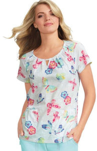 Koi Embroidered Busy Butterflies Print Top - Company Store Uniforms