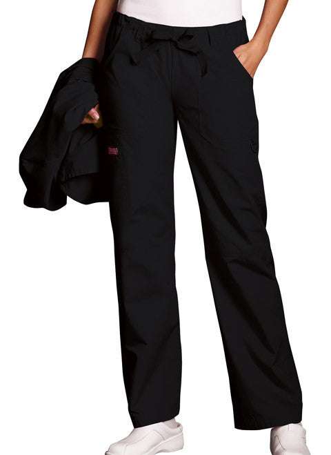 Cherokee Workwear Black Low Rise Drawstring Cargo Scrub Pant - Company Store Uniforms