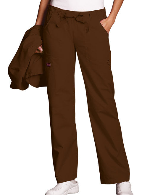 Cherokee Workwear Chocolate Low Rise Drawstring Cargo Scrub Pant - Company Store Uniforms