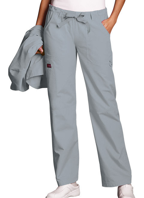 Cherokee Workwear Grey Low Rise Drawstring Cargo Scrub Pant - Company Store Uniforms