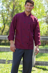 Uncommon Threads Moroccan Chef Coat In Burgandy - Company Store Uniforms