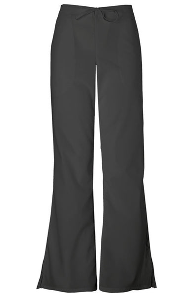 Cherokee Natural Rise Flare Leg Drawstring Pant in Black - Company Store Uniforms
