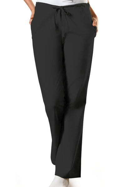 Cherokee Workwear Natural Rise Flare Leg Drawstring Scrub Pant in Black - Company Store Uniforms