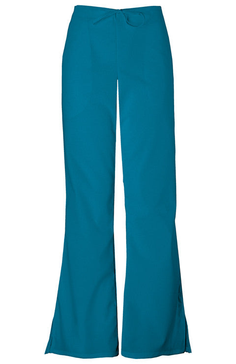 Cherokee Workwear Natural Rise Flare Leg Drawstring Pant in Caribbean Blue - Company Store Uniforms