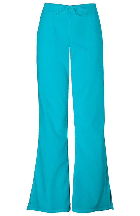 Cherokee Authentic Workwear Natural Rise Flare Leg Drawstring Pant in Turquoise - Company Store Uniforms