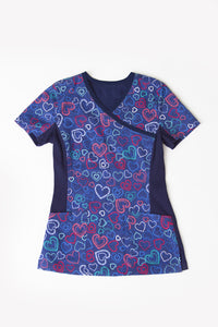 Landau Mending Hearts Print Top - Company Store Uniforms