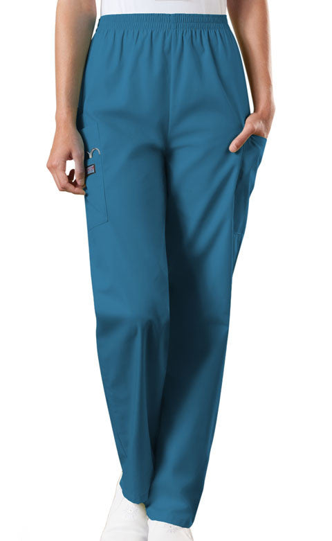 Cherokee Workwear Caribbean Blue Natural Rise Tapered Pull-On Cargo Scrub Pant - Company Store Uniforms
