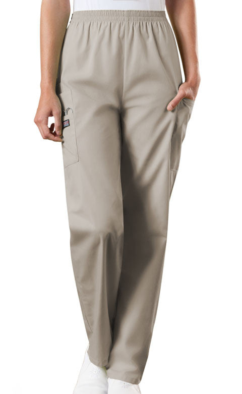 Cherokee Workwear Khaki Natural Rise Tapered Pull-On Cargo Scrub Pant - Company Store Uniforms