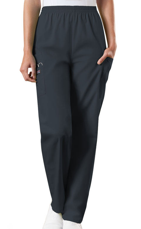 Cherokee Workwear Pewter Natural Rise Tapered Pull-On Cargo Scrub Pant - Company Store Uniforms