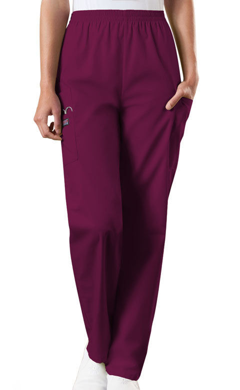 Cherokee Workwear Wine Natural Rise Tapered Pull-On Cargo Scrub Pant - Company Store Uniforms