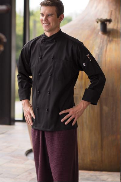 Uncommon Threads Soho Chef Coat In Black - Company Store Uniforms