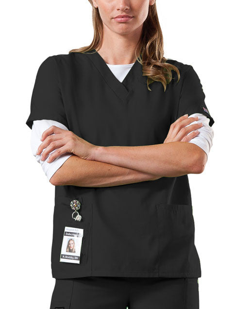 Cherokee Workwear V-Neck Top in Black - Company Store Uniforms