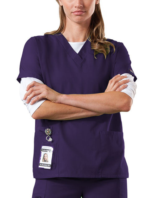 Cherokee Workwear V-Neck Top in New Eggplant - Company Store Uniforms