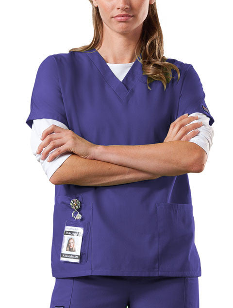Cherokee Workwear V-Neck Top in Grape - Company Store Uniforms