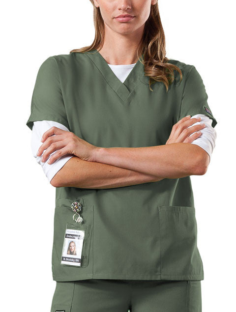 Cherokee Workwear V-Neck Top in Olive - Company Store Uniforms