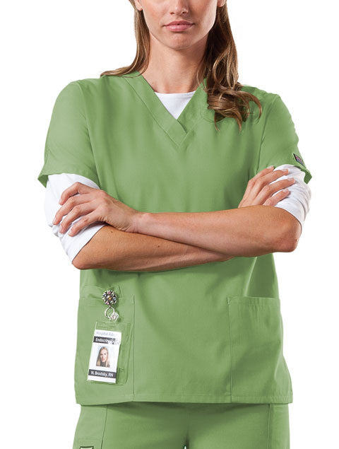 Cherokee Workwear V-Neck Top in Sage Green - Company Store Uniforms