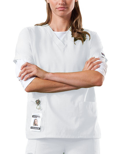 Cherokee Workwear V-Neck Top in White - Company Store Uniforms