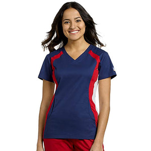 White Cross Red, White, & Blue Contrast Top - Company Store Uniforms