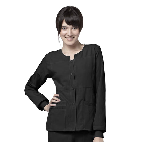 WonderWink Four-Stretch Sporty Button Front Scrub Jacket in Black