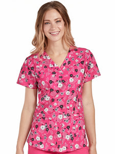 Med Couture Floral Pink V-Neck Top