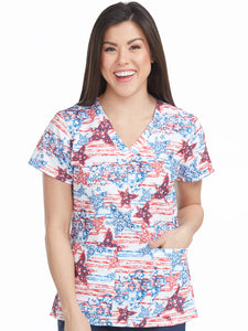 Med Couture Patriotic Stars Print Top - Company Store Uniforms