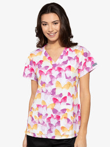 Med Couture Flutterflies Print Top - Company Store Uniforms