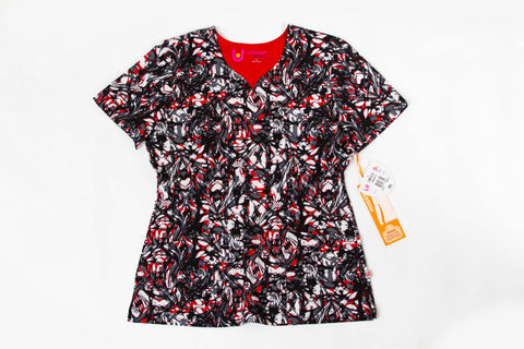Landau Marbled Red Print Top