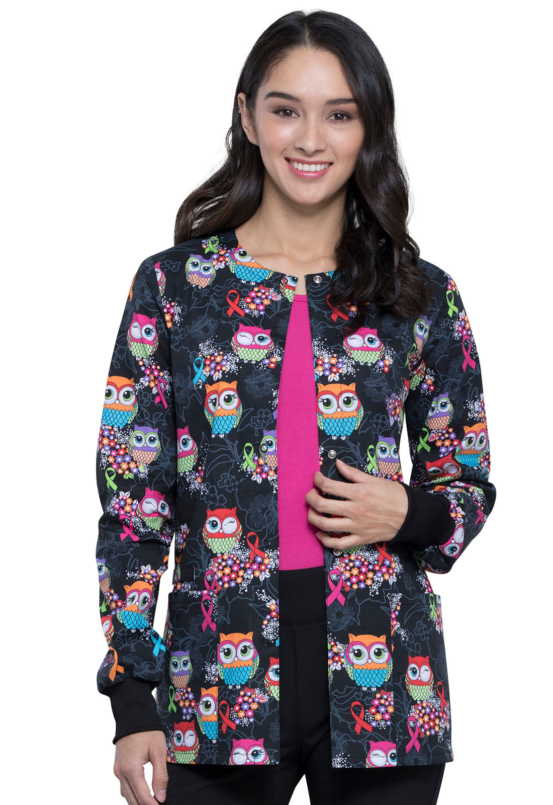 Cherokee Snap Front Let's Give A Hoot Print Jacket - Company Store Uniforms