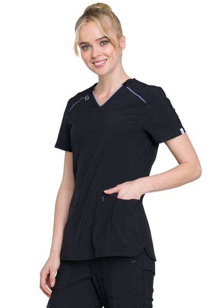 Infinity V-Neck Top in Black - Company Store Uniforms