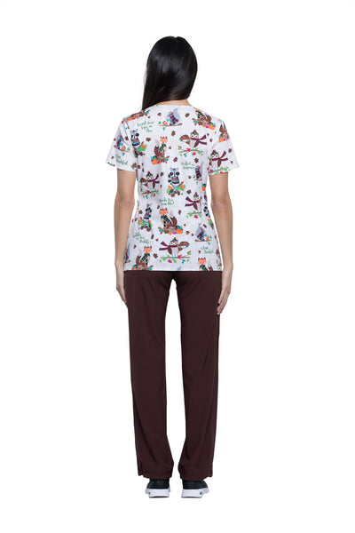 Cherokee Wood You Join Me? Mock Wrap Print Top - Company Store Uniforms