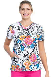 Cherokee V-Neck Print Top in Leopard Bloom