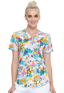Cherokee V-Neck Print Top in Tropical Playground